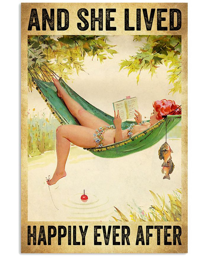 Hammock-Beach-Woman-Fishing-And-she-lived-happily-ever-after-poster-1