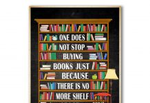 One-Does-Not-Stop-Buying-Books-Just-Because-There-Is-No-More-Shelf-Space-Poster