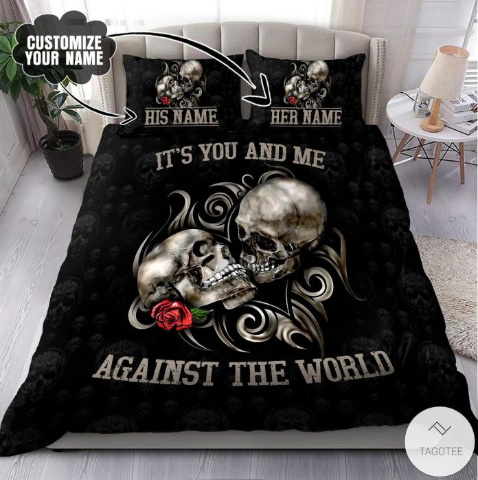 Personalized-Name-Couple-Skull-Art-Its-You-And-Me-Against-The-World-Bedding-Set