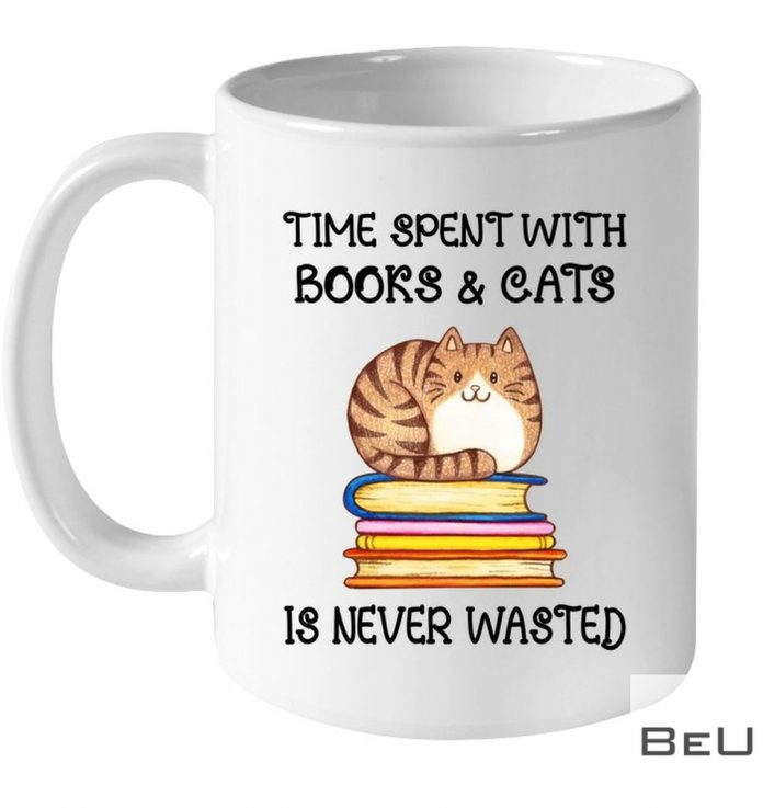 Time-Spent-With-Books-And-Cats-Is-Never-Wasted-Mug