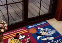 Minnesota-Duluth-Bulldogs-House-Divided-Gonzaga-Bulldogs-Mickey-Mouse-And-Minnie-Mouse-Doormat