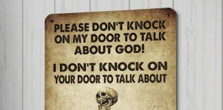 Please Don't Knock On My Door To Talk About God I Don't Knock On Your Door To Talk About Wine And Vibrators Metal Sign