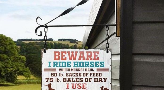 Personalized Beware I Ride Horses Classic Metal Signs
