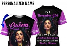 Personalized Name Queen Are Born In November All Over Print Hoodie