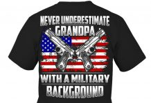 Never Underestimate A Grandpa With A Military Background Shirt
