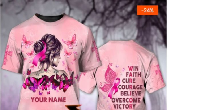 Personalized Breast Cancer Awareness Warrior Win Faith Cure Courage Believe Overcome Victory 3d Shirt