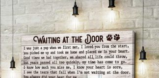 Personalized Memorial Pet Photo Waiting At The Door Canvas