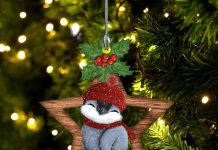 Penguin Christmas Angel With Star Ornament